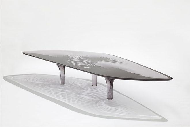 "Liquid Glacial ""Smoke"" Coffee Table, 2012, by Zaha Hadid and Patrik Schumacher. Image is by Jacapo Spilimbergo"