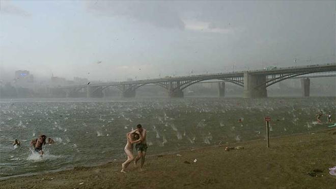 Nikita Dudnik. Sudden hail storm in Novosibirsk Russia.